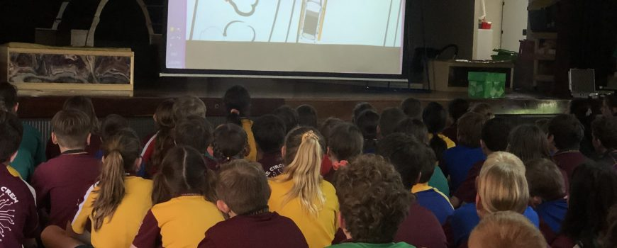 BMSS year 5 and 6 students watching the Drop Zone Road Safety video