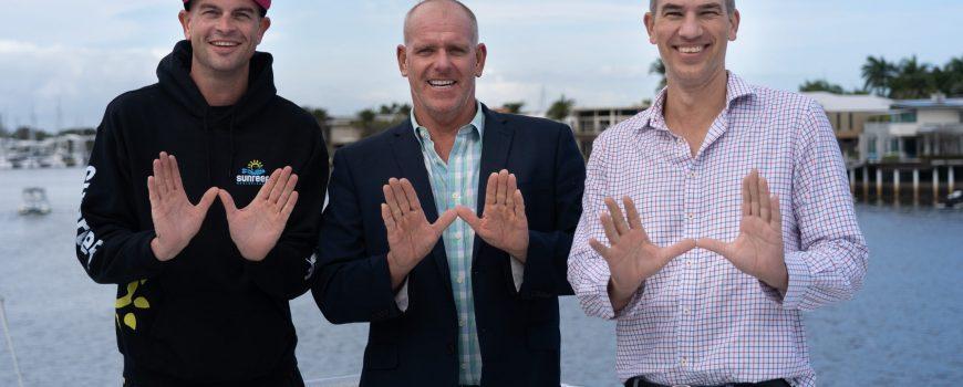 Celebrating the launch of Swim with Whales season - Sunreef's Dan Hart, with Cr Jason OPray and VSC ceo Matt Stoeckel