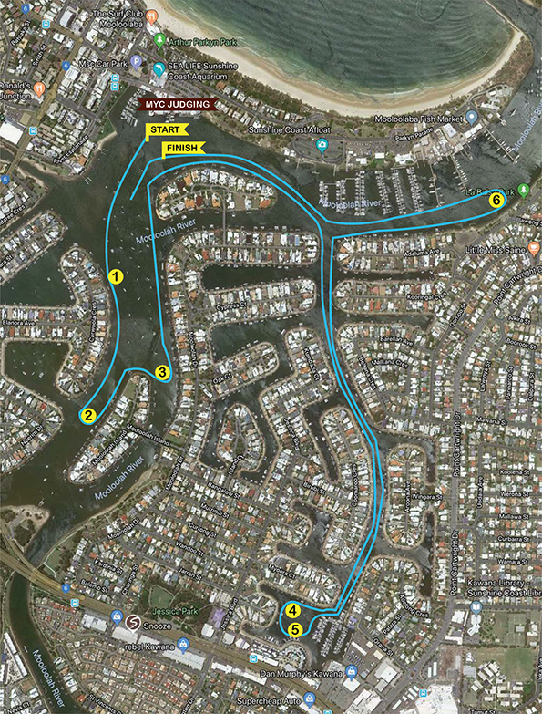 MYC Christmas Boat Parade 2018 Course Map