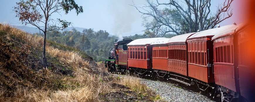 Mary Valley Rattler C17 974 engine and heritage carriages heading back toward Gympie-web