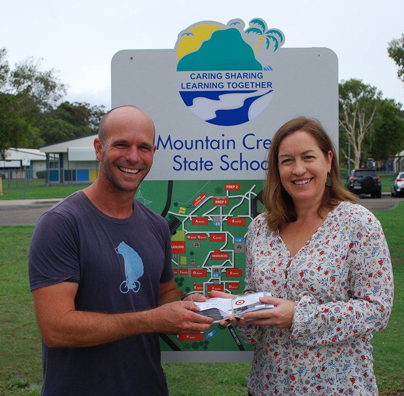 Mountain Creek State School Chappy Anothony with Buderim Foundations' Lisa Edwards-web