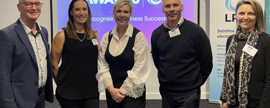 Sunshine Coast Business Awards head of judges Bruce Williams, 2019 winner Naomi Campbell from Concepts Lab, Awards chair Jennifer Swaine with sponsors LPEs Damien Glanville and Sunshine Coast Councils Mandy Day - photo by Reflected Image PR