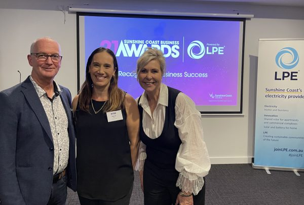 Sunshine Coast Business Awards head of judges Bruce Williams, 2019 winner Naomi Campbell from Concepts Lab and Awards chair Jennifer Swaine - photo by Reflected Image PR