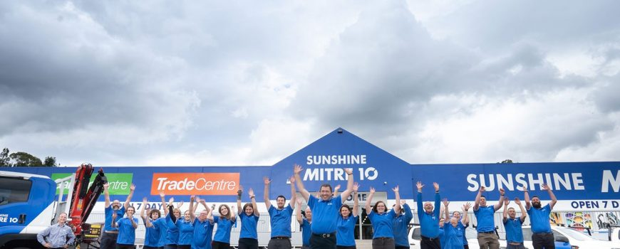 Sunshine-Mitre-10-Nambour-Flagship-store-jump-for-joy-at-openning-photo-by-Reflected-Image-PR