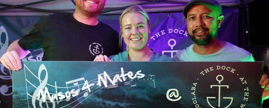 The Dock Mooloolaba's Jared Hart, IFYS Foster Care Jana o'Shea and musician John Veloso-crop